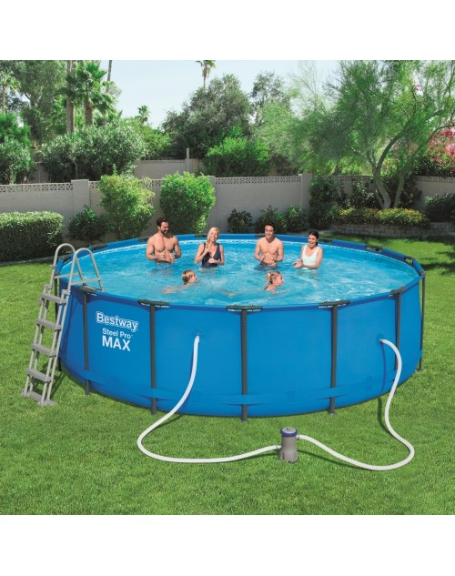 Bestway Round Frame Swimming Pool with Filter Pump, Steel Pro Max, 48 Inch Deep, 15 ft