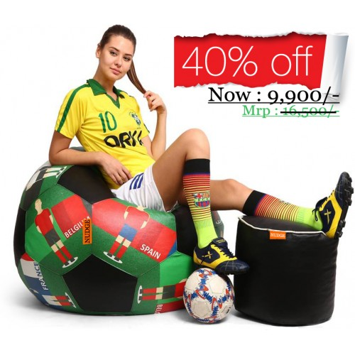 Printed Foot Ball Bean bag Chair Mix