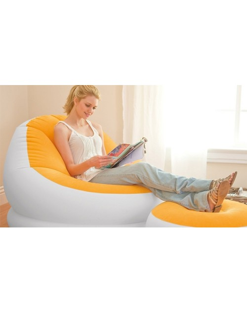 Intex Inflatable Cafe Chaise Lounge Chair and Ottoman, Yellow