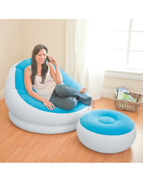 Intex Inflatable Cafe Chaise Lounge Chair and Ottoman, Blue
